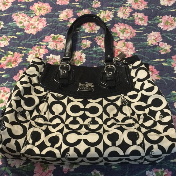 Coach Handbags - COACH Large Bag,Black& White🌲